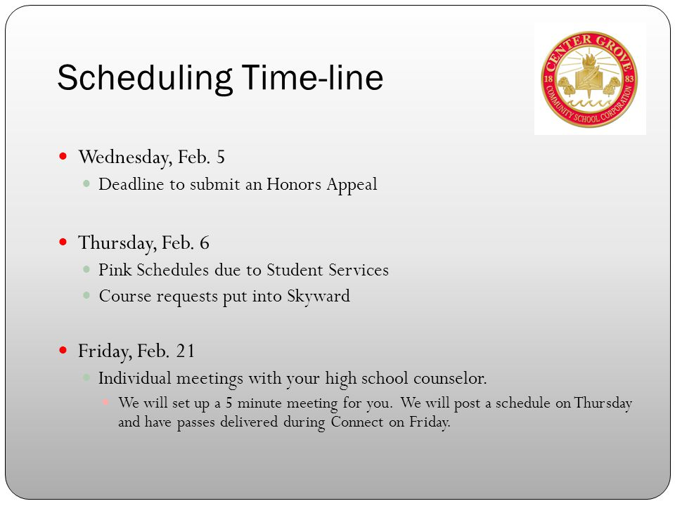 Scheduling Time-line Wednesday, Feb. 5 Deadline to submit an Honors Appeal Thursday, Feb.