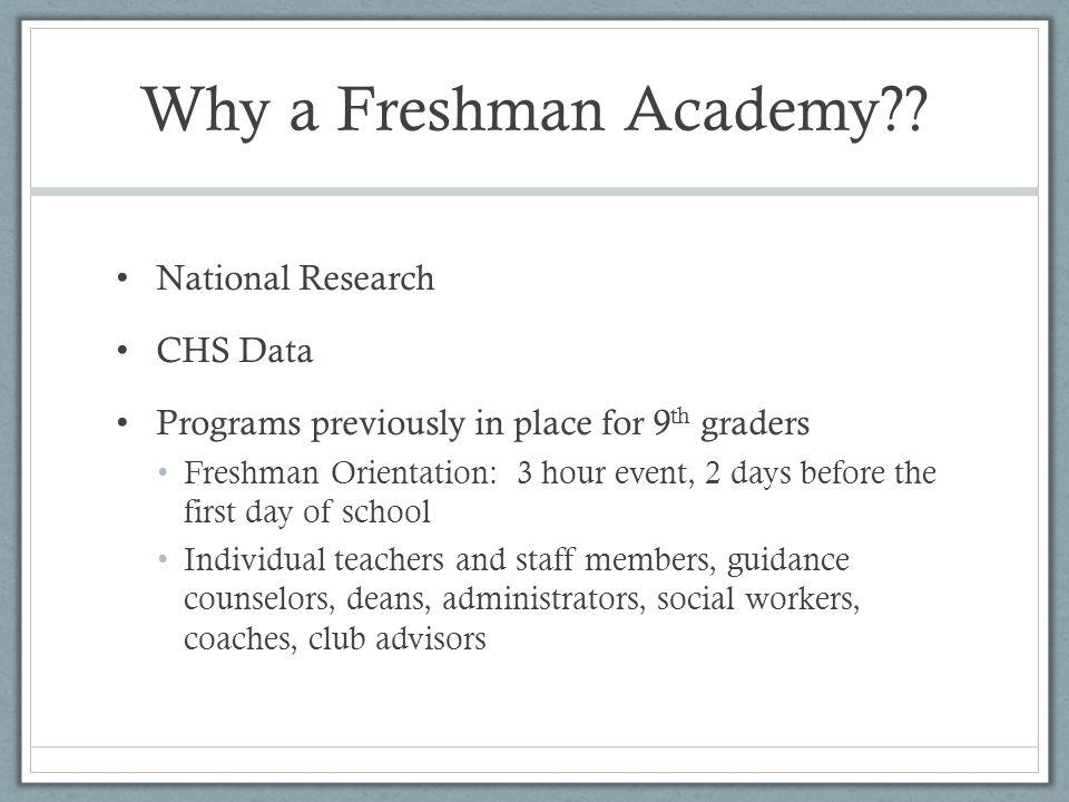 Why a Freshman Academy?.