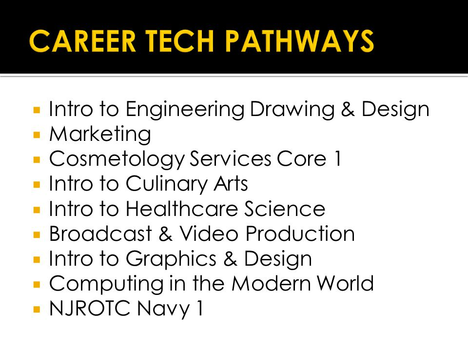  Intro to Engineering Drawing & Design  Marketing  Cosmetology Services Core 1  Intro to Culinary Arts  Intro to Healthcare Science  Broadcast & Video Production  Intro to Graphics & Design  Computing in the Modern World  NJROTC Navy 1