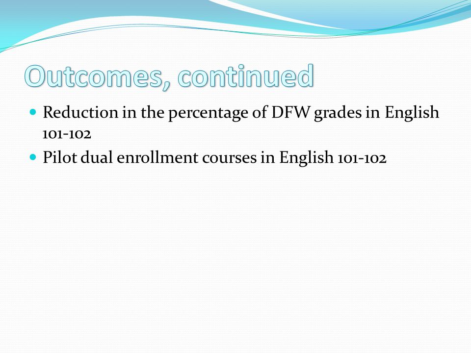 Reduction in the percentage of DFW grades in English 101-102 Pilot dual enrollment courses in English 101-102