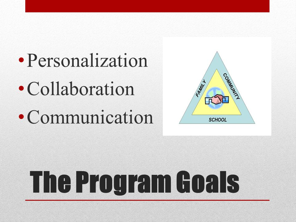 The Program Goals Personalization Collaboration Communication