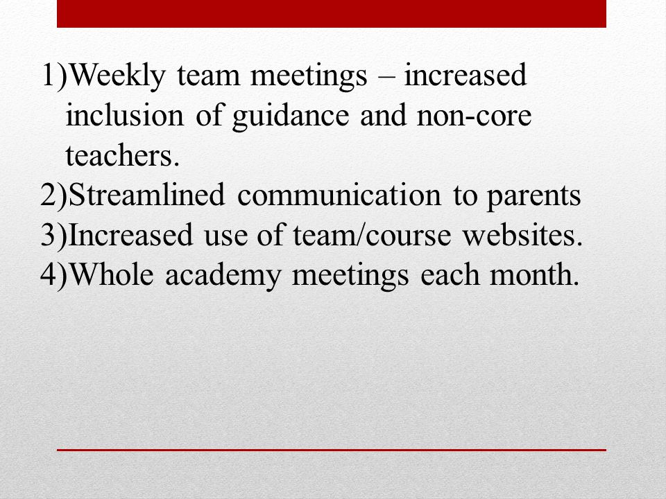 1)Weekly team meetings – increased inclusion of guidance and non-core teachers.