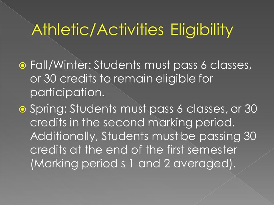 Fall/Winter: Students must pass 6 classes, or 30 credits to remain eligible for participation.
