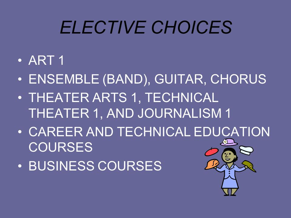 ELECTIVE CHOICES ART 1 ENSEMBLE (BAND), GUITAR, CHORUS THEATER ARTS 1, TECHNICAL THEATER 1, AND JOURNALISM 1 CAREER AND TECHNICAL EDUCATION COURSES BUSINESS COURSES