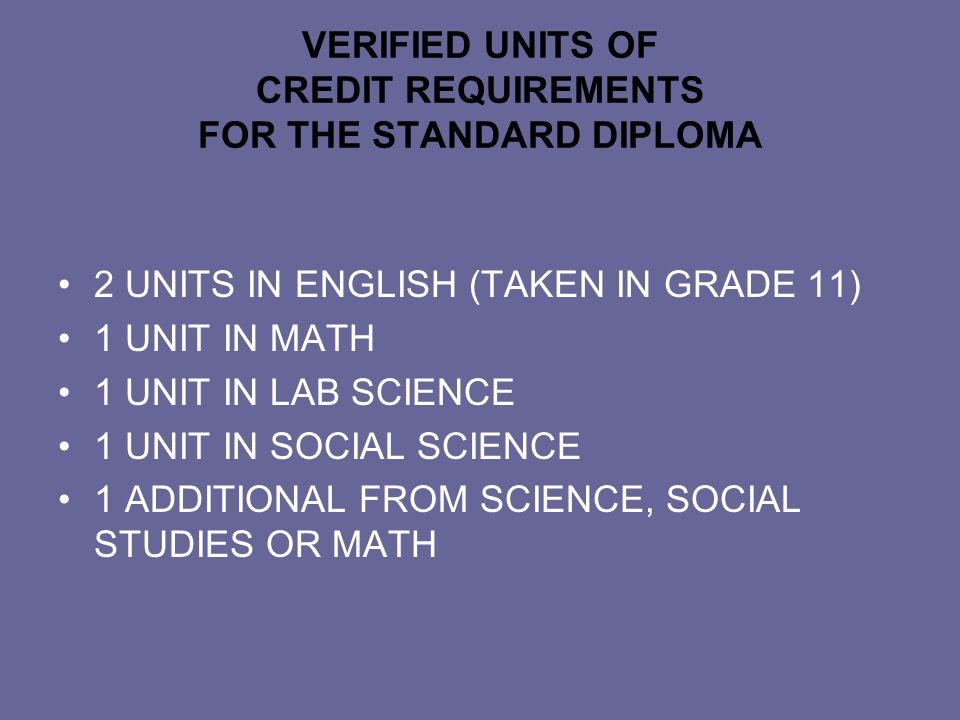 VERIFIED UNITS OF CREDIT REQUIREMENTS FOR THE STANDARD DIPLOMA 2 UNITS IN ENGLISH (TAKEN IN GRADE 11) 1 UNIT IN MATH 1 UNIT IN LAB SCIENCE 1 UNIT IN SOCIAL SCIENCE 1 ADDITIONAL FROM SCIENCE, SOCIAL STUDIES OR MATH