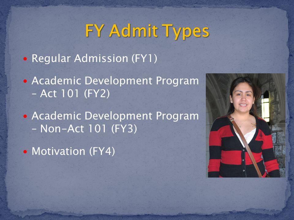 Regular Admission (FY1) Academic Development Program – Act 101 (FY2) Academic Development Program – Non-Act 101 (FY3) Motivation (FY4)
