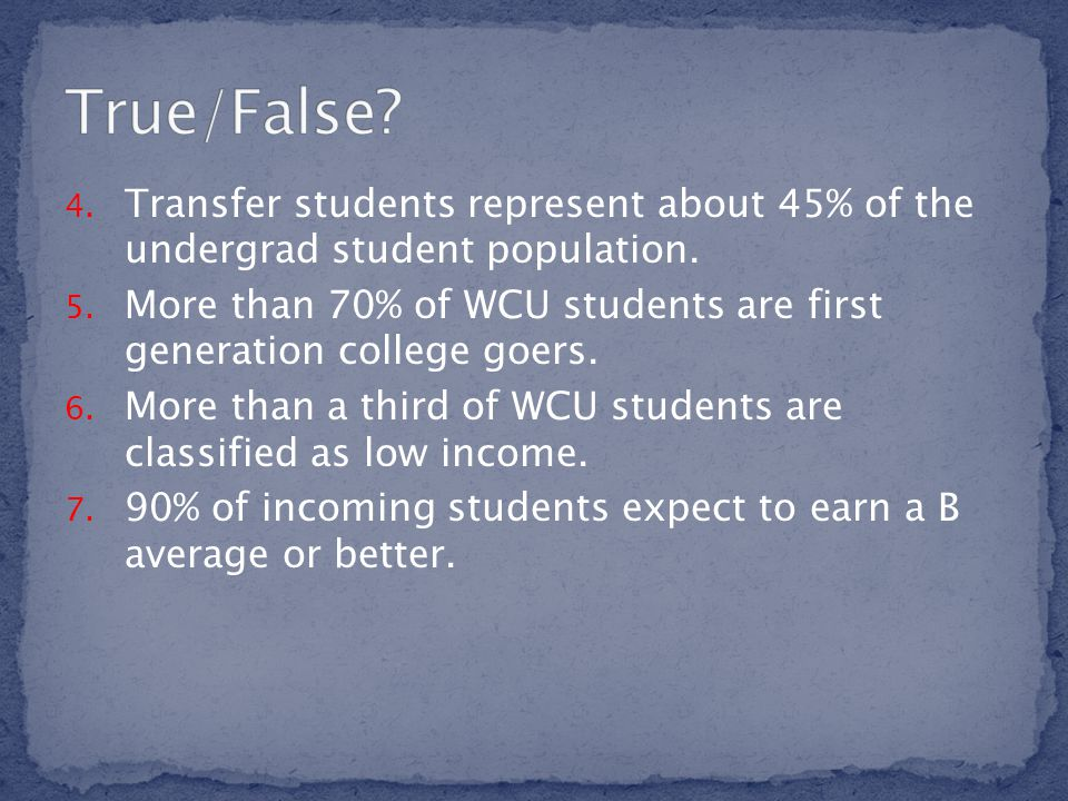 4.Transfer students represent about 45% of the undergrad student population.