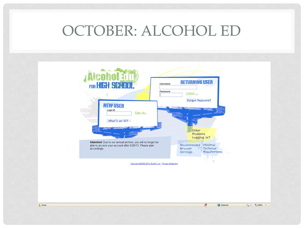 OCTOBER: ALCOHOL ED