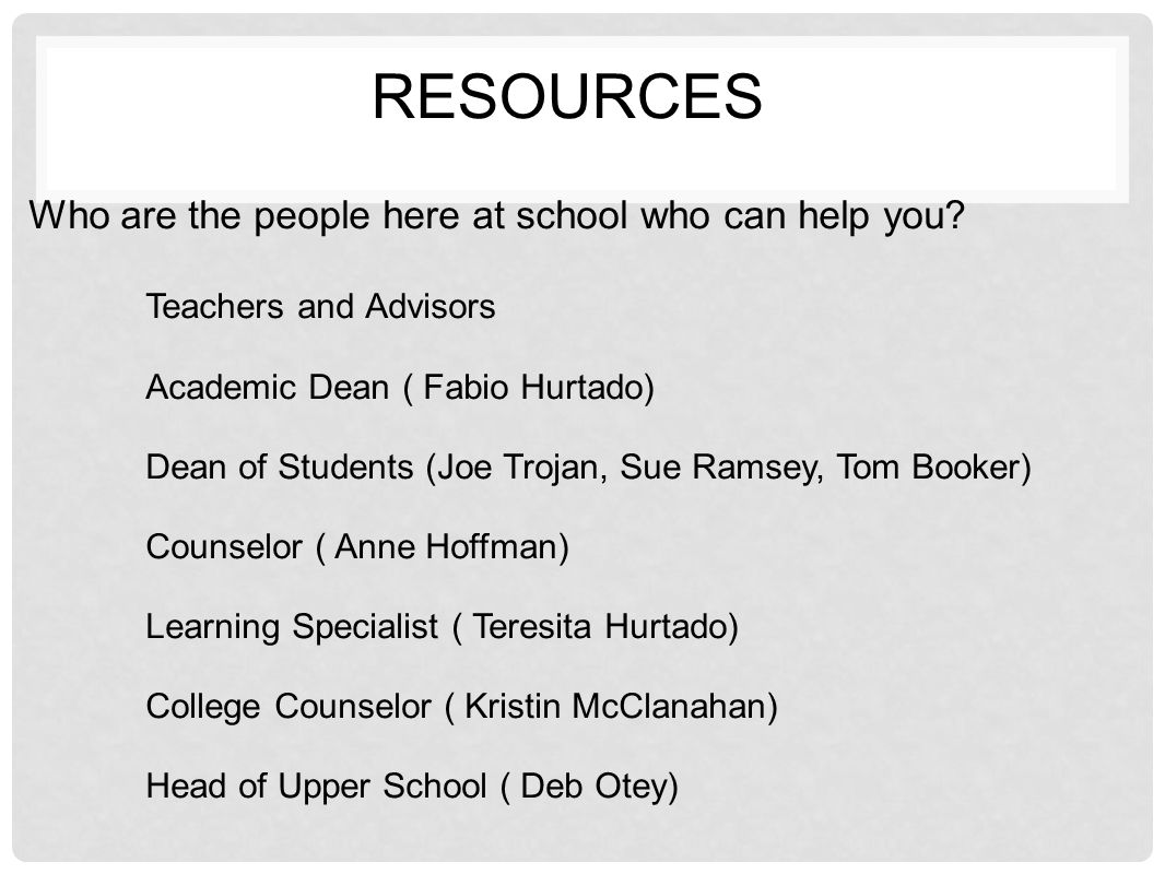 RESOURCES Who are the people here at school who can help you? Teachers and Advisors Academic Dean ( Fabio Hurtado) Dean of Students (Joe Trojan, Sue R