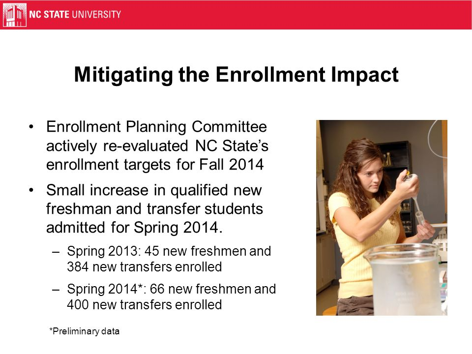 Mitigating the Enrollment Impact Enrollment Planning Committee actively re-evaluated NC State's enrollment targets for Fall 2014 Small increase in qua
