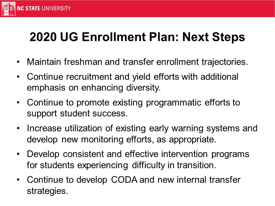2020 UG Enrollment Plan: Next Steps Maintain freshman and transfer enrollment trajectories.