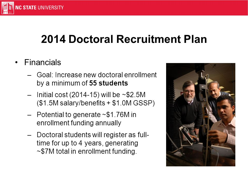2014 Doctoral Recruitment Plan Financials –Goal: Increase new doctoral enrollment by a minimum of 55 students –Initial cost (2014-15) will be ~$2.5M (