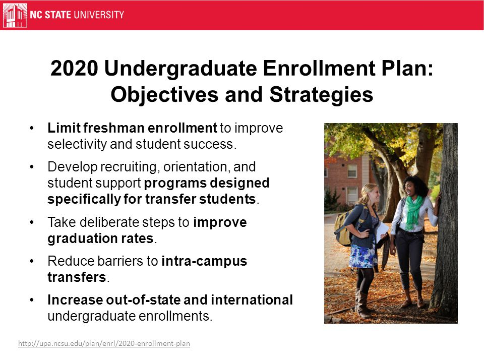 2020 Undergraduate Enrollment Plan: Objectives and Strategies Limit freshman enrollment to improve selectivity and student success.