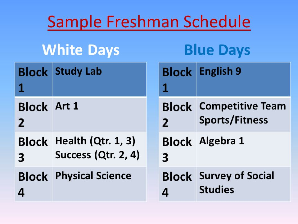 White Days Block 1 Study Lab Block 2 Art 1 Block 3 Health (Qtr.
