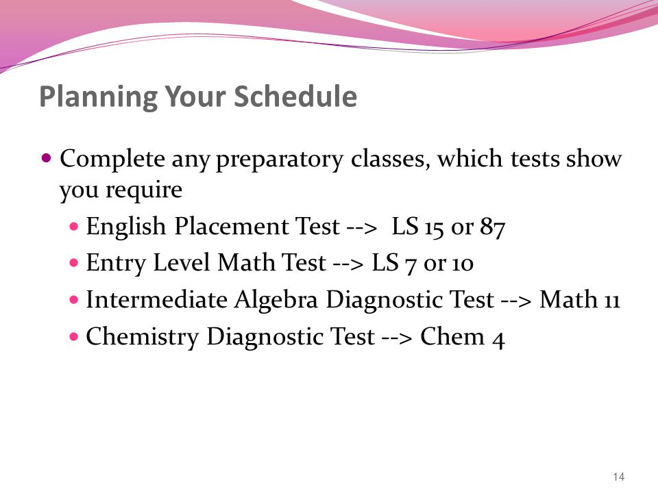 Planning Your Schedule Complete any preparatory classes, which tests show you require English Placement Test --> LS 15 or 87 Entry Level Math Test --> LS 7 or 10 Intermediate Algebra Diagnostic Test --> Math 11 Chemistry Diagnostic Test --> Chem 4 14