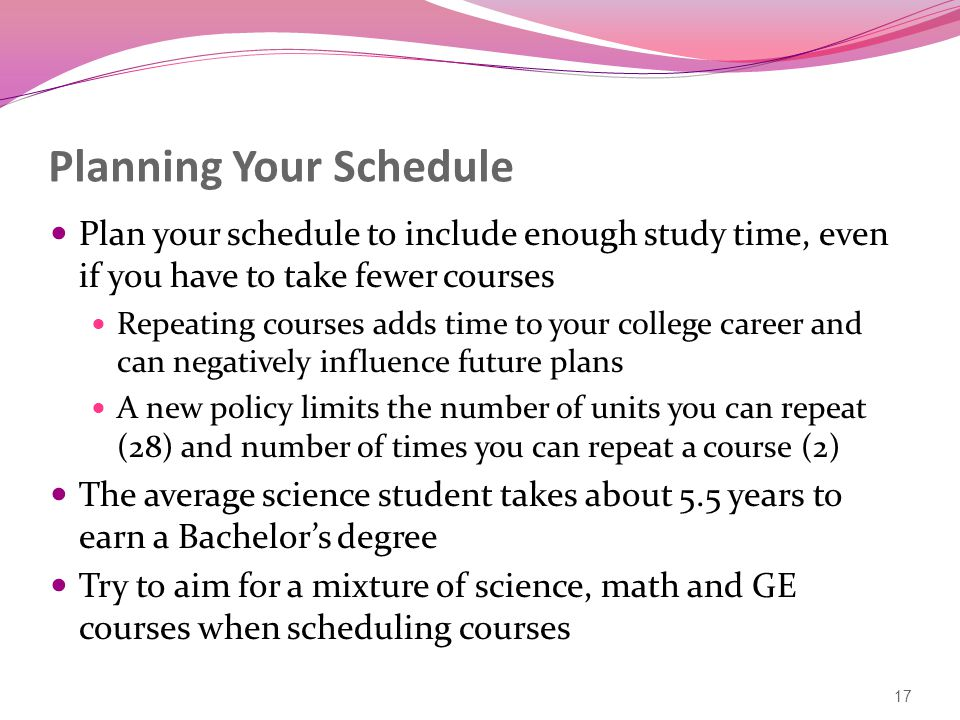 Planning Your Schedule Plan your schedule to include enough study time, even if you have to take fewer courses Repeating courses adds time to your college career and can negatively influence future plans A new policy limits the number of units you can repeat (28) and number of times you can repeat a course (2) The average science student takes about 5.5 years to earn a Bachelor's degree Try to aim for a mixture of science, math and GE courses when scheduling courses 17