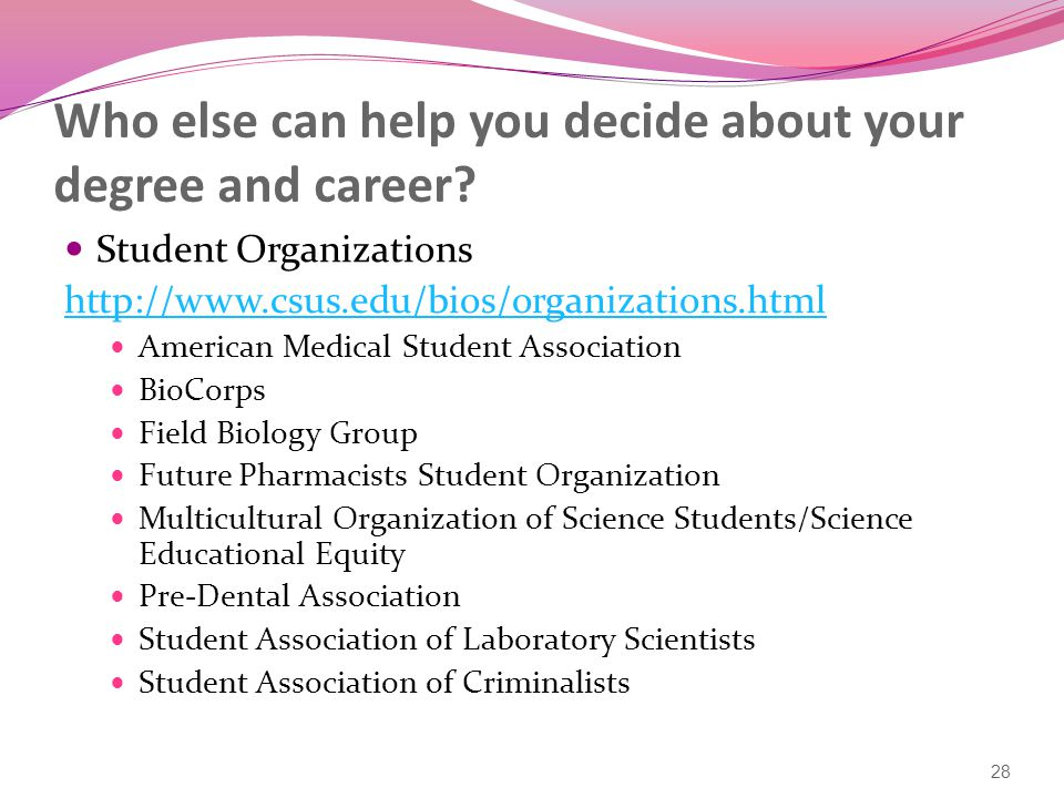 Who else can help you decide about your degree and career.