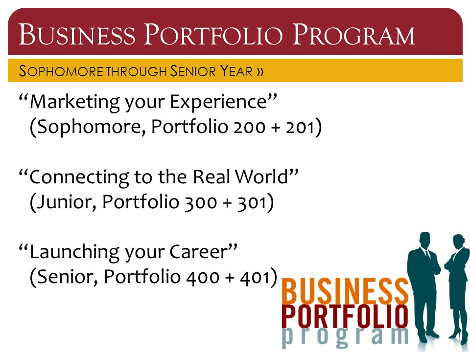 B USINESS P ORTFOLIO P ROGRAM S OPHOMORE THROUGH S ENIOR Y EAR » Marketing your Experience (Sophomore, Portfolio 200 + 201) Connecting to the Real World (Junior, Portfolio 300 + 301) Launching your Career (Senior, Portfolio 400 + 401)