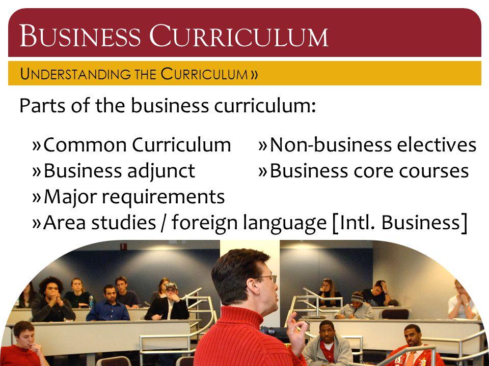 B USINESS C URRICULUM U NDERSTANDING THE C URRICULUM » Parts of the business curriculum: »Common Curriculum»Non-business electives »Business adjunct»B