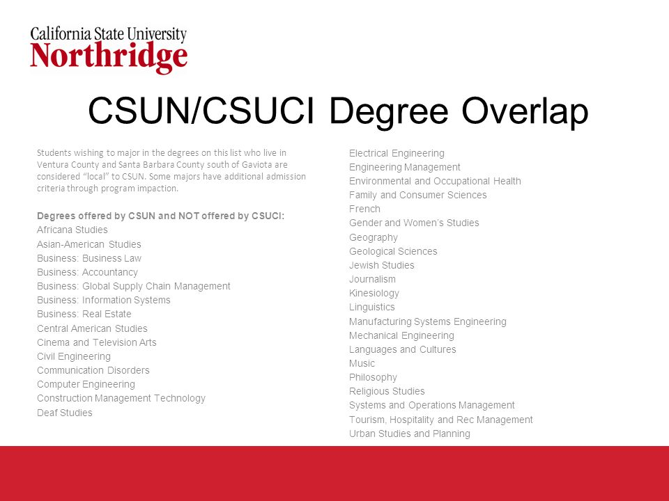 CSUN/CSUCI Degree Overlap Students wishing to major in the degrees on this list who live in Ventura County and Santa Barbara County south of Gaviota are considered local to CSUN.