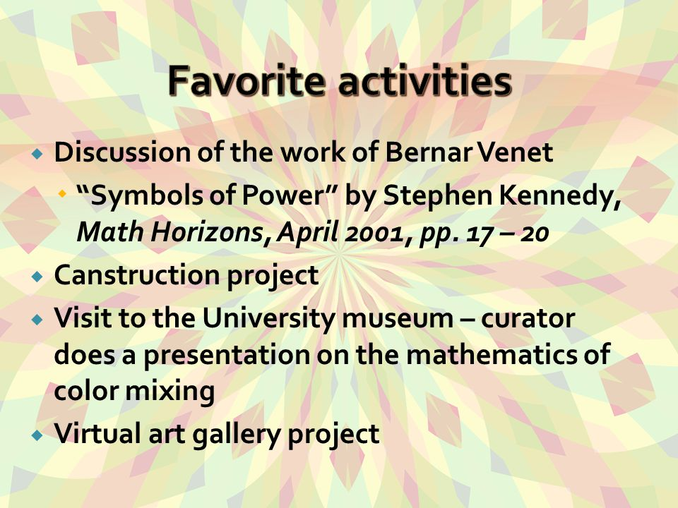  Discussion of the work of Bernar Venet  Symbols of Power by Stephen Kennedy, Math Horizons, April 2001, pp.