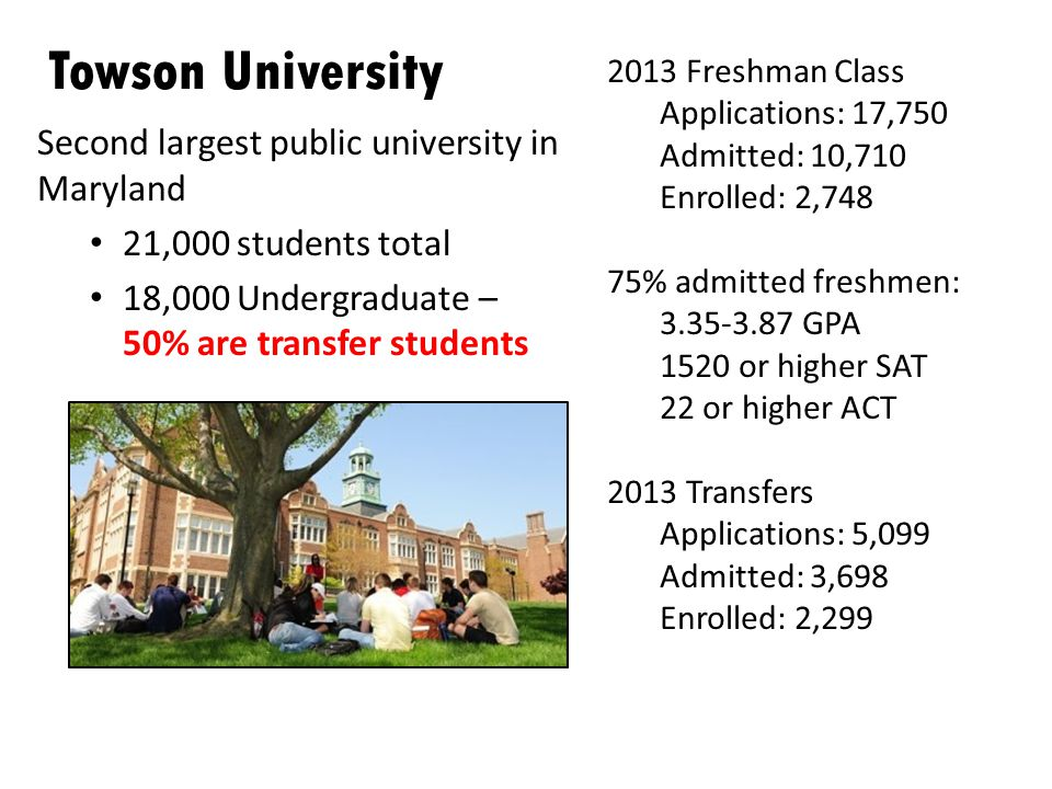 Towson University Second largest public university in Maryland 21,000 students total 18,000 Undergraduate – 50% are transfer students 2013 Freshman Cl