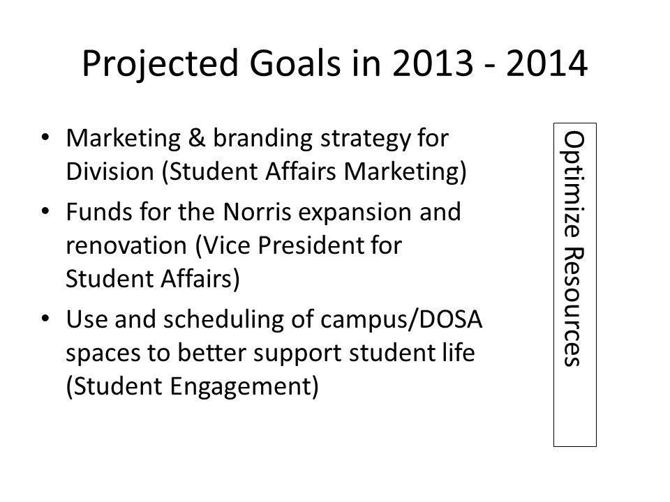 Projected Goals in 2013 - 2014 Marketing & branding strategy for Division (Student Affairs Marketing) Funds for the Norris expansion and renovation (Vice President for Student Affairs) Use and scheduling of campus/DOSA spaces to better support student life (Student Engagement) Optimize Resources