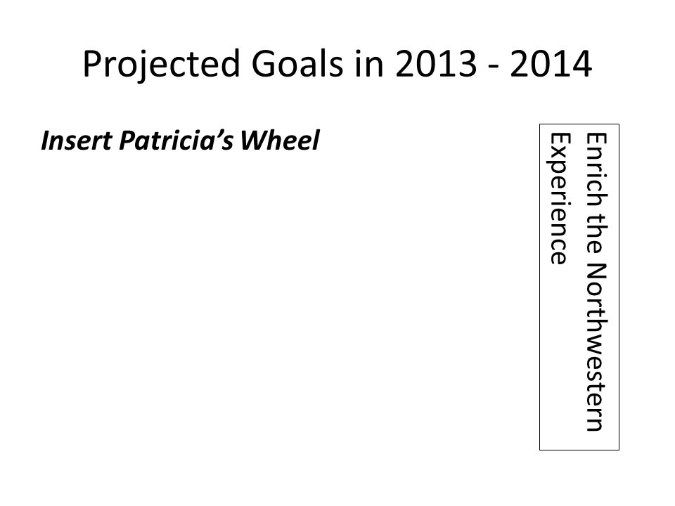 Projected Goals in 2013 - 2014 Insert Patricia's Wheel Enrich the Northwestern Experience