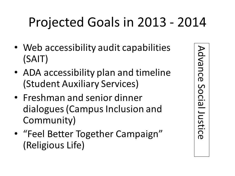 Projected Goals in 2013 - 2014 Web accessibility audit capabilities (SAIT) ADA accessibility plan and timeline (Student Auxiliary Services) Freshman a