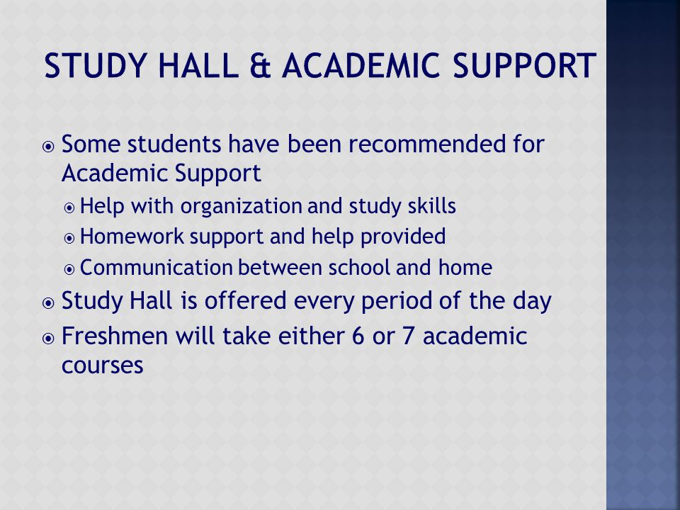  Some students have been recommended for Academic Support  Help with organization and study skills  Homework support and help provided  Communicat
