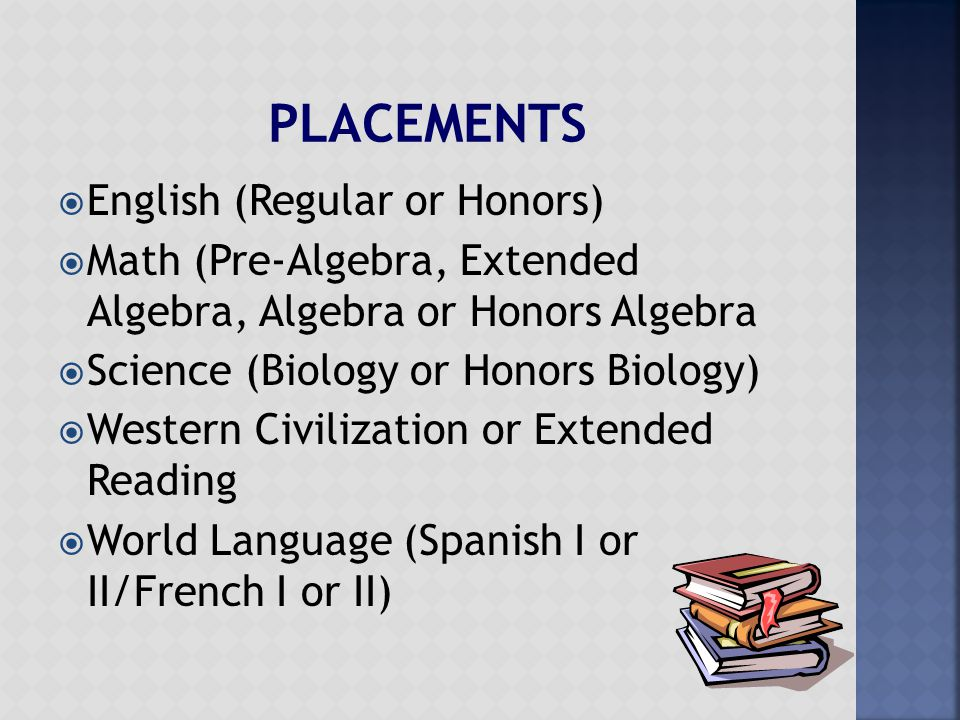  English (Regular or Honors)  Math (Pre-Algebra, Extended Algebra, Algebra or Honors Algebra  Science (Biology or Honors Biology)  Western Civilization or Extended Reading  World Language (Spanish I or II/French I or II)
