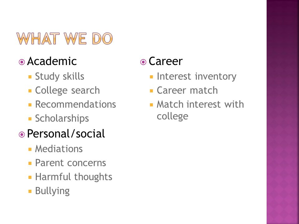  Academic  Study skills  College search  Recommendations  Scholarships  Personal/social  Mediations  Parent concerns  Harmful thoughts  Bullying  Career  Interest inventory  Career match  Match interest with college