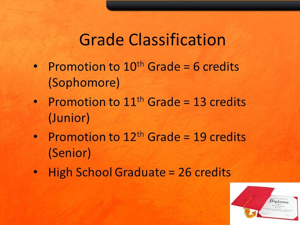 Grade Classification Promotion to 10 th Grade = 6 credits (Sophomore) Promotion to 11 th Grade = 13 credits (Junior) Promotion to 12 th Grade = 19 credits (Senior) High School Graduate = 26 credits
