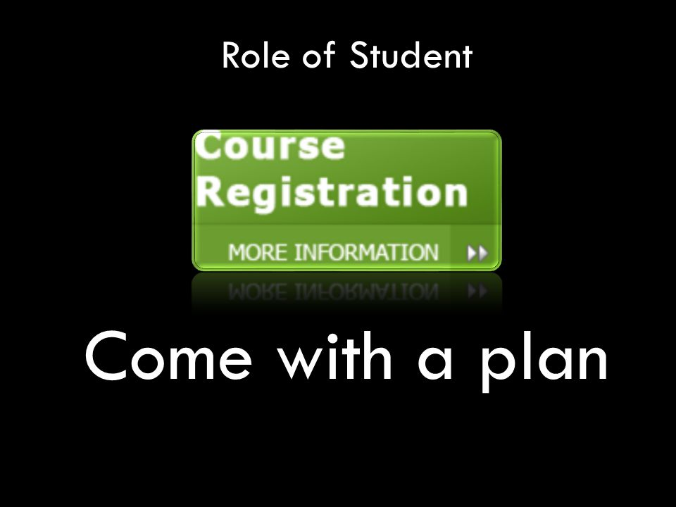 Role of Student Come with a plan