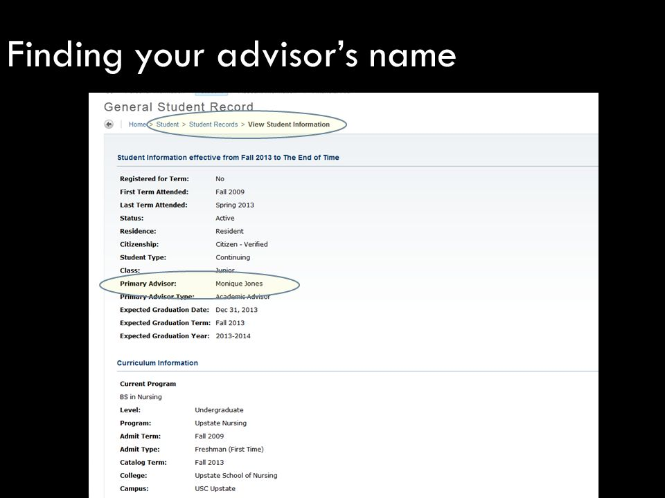 Finding your advisor's name