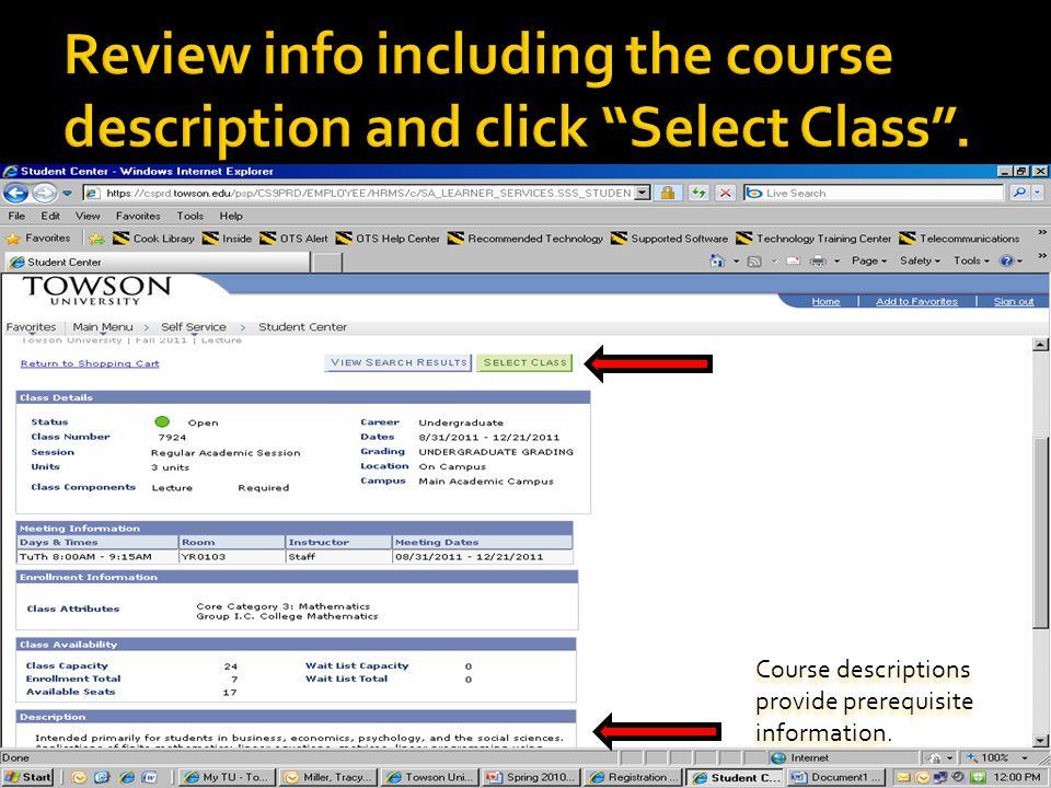 Course descriptions provide prerequisite information.
