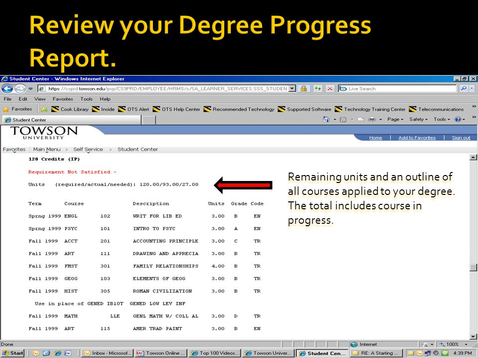 Remaining units and an outline of all courses applied to your degree.