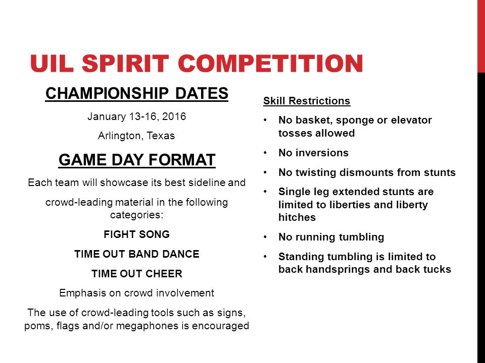 CHAMPIONSHIP DATES January 13-16, 2016 Arlington, Texas GAME DAY FORMAT Each team will showcase its best sideline and crowd-leading material in the fo