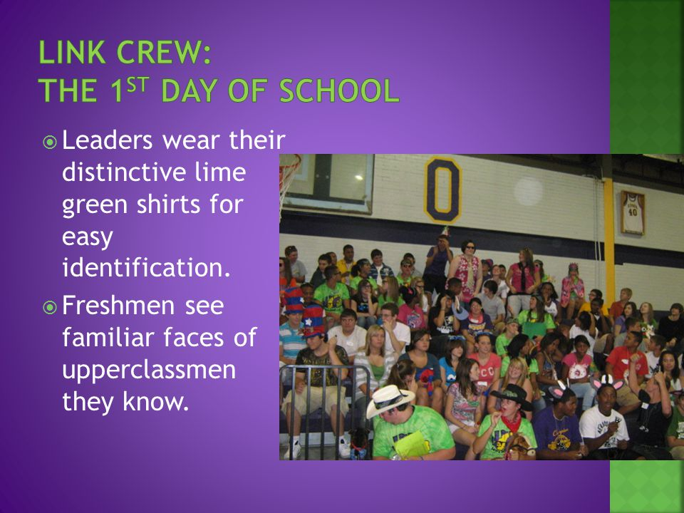  Leaders wear their distinctive lime green shirts for easy identification.