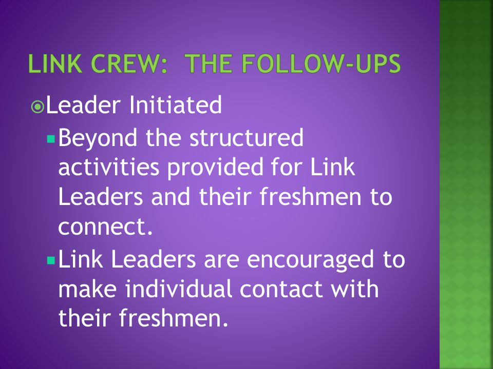  Leader Initiated  Beyond the structured activities provided for Link Leaders and their freshmen to connect.