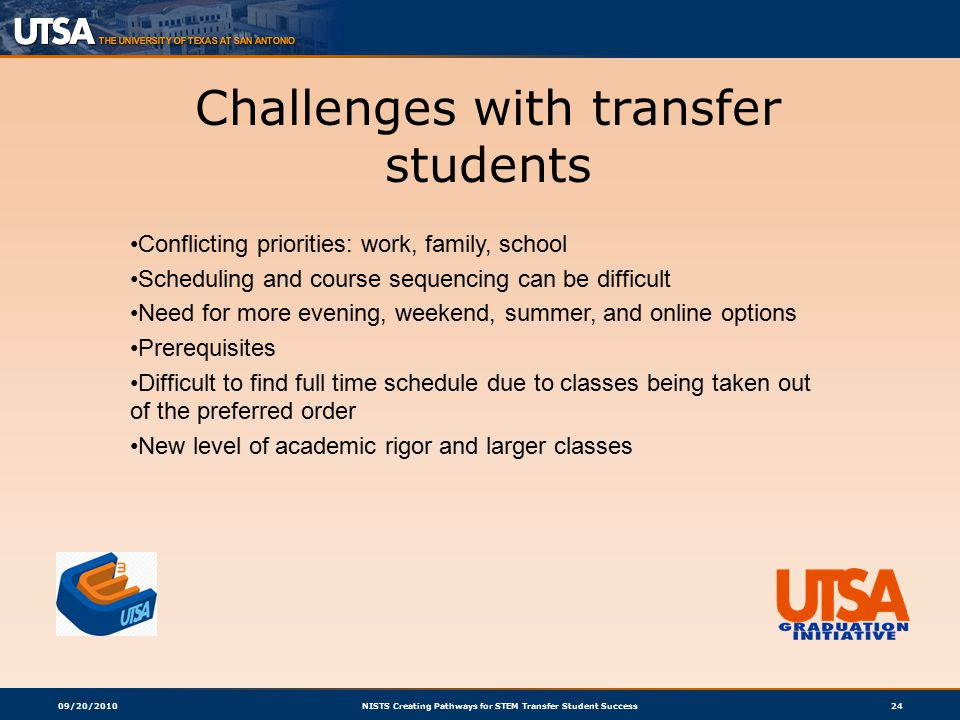 09/20/2010NISTS Creating Pathways for STEM Transfer Student Success24 Challenges with transfer students Conflicting priorities: work, family, school Scheduling and course sequencing can be difficult Need for more evening, weekend, summer, and online options Prerequisites Difficult to find full time schedule due to classes being taken out of the preferred order New level of academic rigor and larger classes