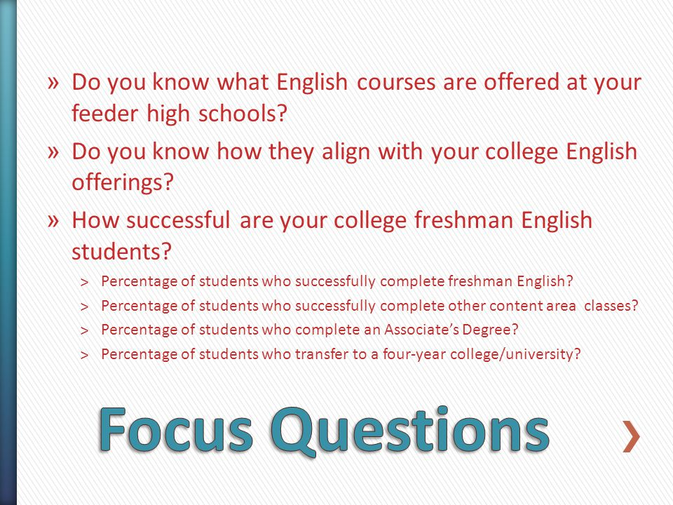 » Do you know what English courses are offered at your feeder high schools.