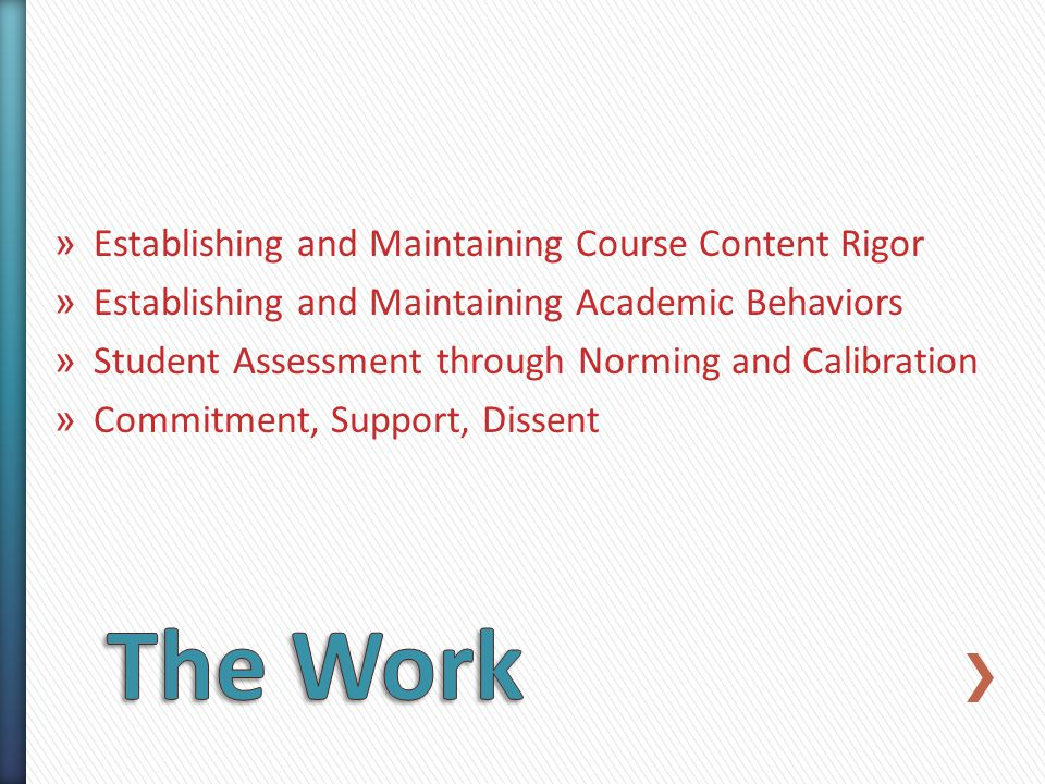 » Establishing and Maintaining Course Content Rigor » Establishing and Maintaining Academic Behaviors » Student Assessment through Norming and Calibration » Commitment, Support, Dissent