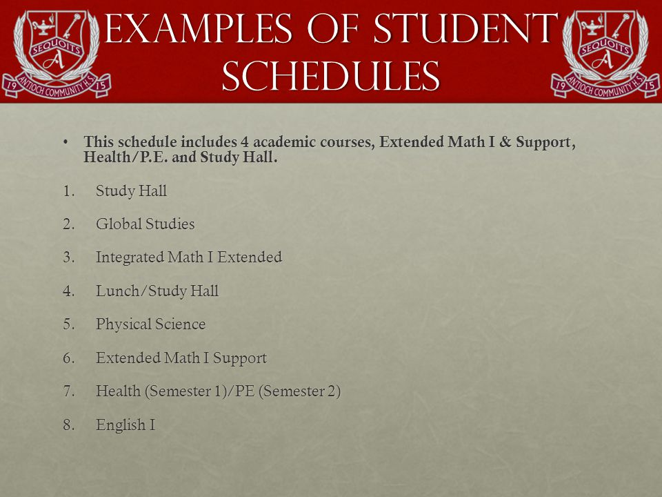Examples of Student Schedules This schedule includes 4 academic courses, Extended Math I & Support, Health/P.E.
