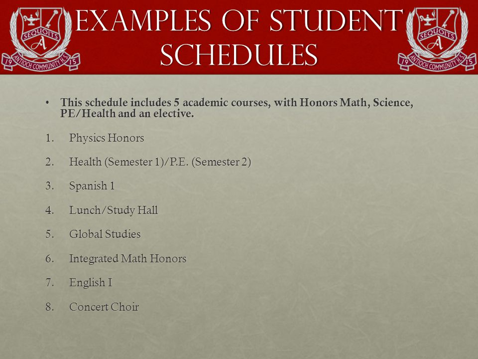 Examples of Student Schedules This schedule includes 5 academic courses, with Honors Math, Science, PE/Health and an elective.