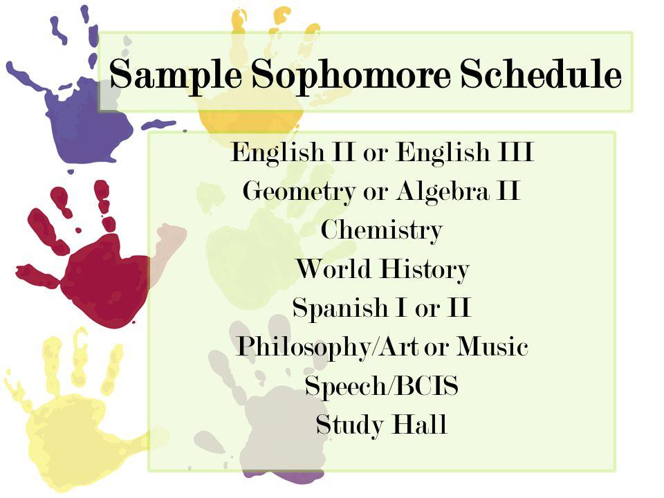 Sample Sophomore Schedule English II or English III Geometry or Algebra II Chemistry World History Spanish I or II Philosophy/Art or Music Speech/BCIS Study Hall