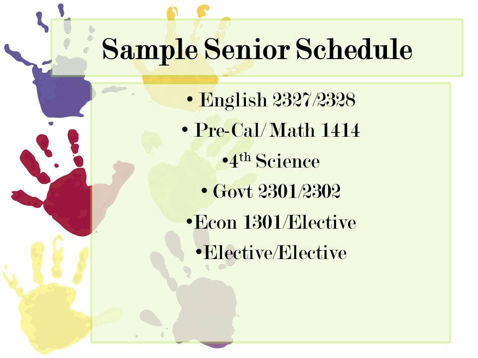 Sample Senior Schedule English 2327/2328 Pre-Cal/ Math 1414 4 th Science Govt 2301/2302 Econ 1301/Elective Elective/Elective