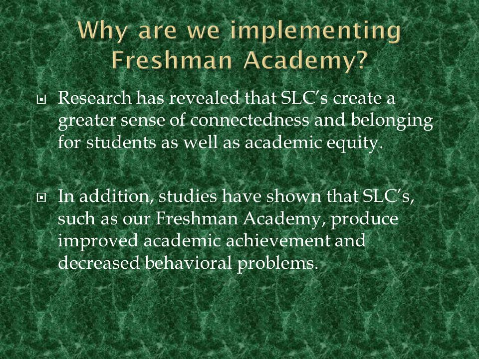  A small learning community within the school that strives to support freshman as they transition from middle to high school.