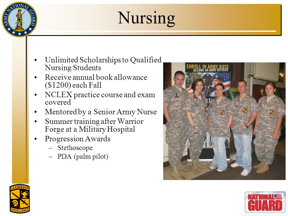 Nursing Unlimited Scholarships to Qualified Nursing Students Receive annual book allowance ($1200) each Fall NCLEX practice course and exam covered Me