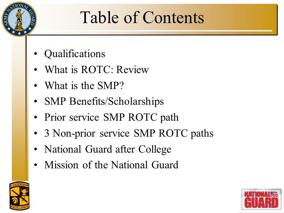 Qualifications Notre Dame ROTC SMP Qualifications include: US Citizen; no dual citizenship Under 31 years for entire commissioning year 2.0 cumulative GPA (minimum) Academic sophomore (minimum) Pass APFT; meet height/weight standards Medically qualified Full-time student status Waivers for dependents(spouses and children) and civil convictions